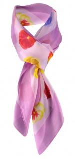 Halstuch Chiffon Satin rosa flieder gelb rot lila Blumenmotive - Tuch 90 x 90 cm
