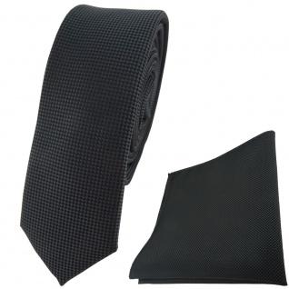 schmale TigerTie Krawatte + Einstecktuch in anthrazit dunkelgrau fein gepunktet
