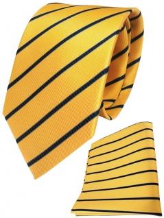 TigerTie Seidenkrawatte + Seideneinstecktuch in gelb blau dunkelblau gestreift