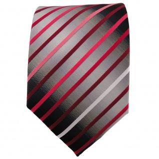 TigerTie Krawatte rot weinrot rose silbergrau schwarz gestreift - Binder - Vorschau 2