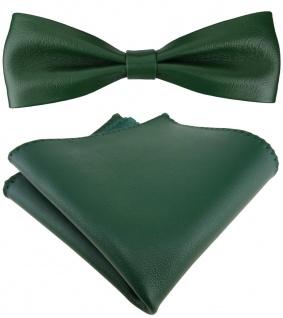 schmale TigerTie Lederfliege in grün + Einstecktuch 100% Lammnappa-Leder