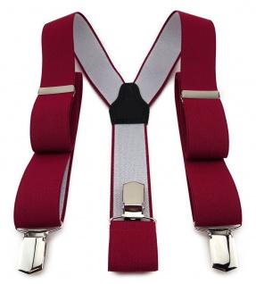 TigerTie Unisex Hosenträger mit 3 extra starken Clips - dunkelrot einfarbig Uni