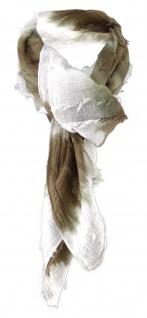 Halstuch in olive weiss gestreift - Schal 100% Baumwolle -Tuch Gr. 100 x 100 cm