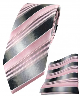 TigerTie Krawatte + Einstecktuch rosa hellrosa silber anthrazit grau gestreift - Vorschau 1