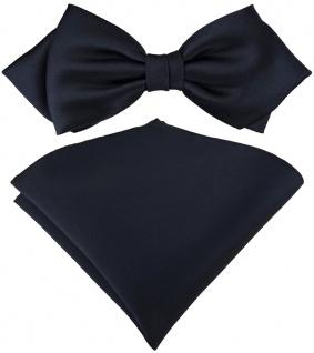 vorgebundene TigerTie Spitzfliege + Einstecktuch in schwarzblau einfarbig + Box