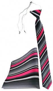 TigerTie Sicherheits Krawatte + Einstecktuch in pink silber grau weiss gestreift
