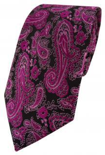 TigerTie Designer Krawatte in magenta schwarz silber Paisley gemustert