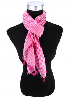 Halstuch in rosa pink weissgrau kariert mit Fransen - Tuch Größe 100 x 100 cm