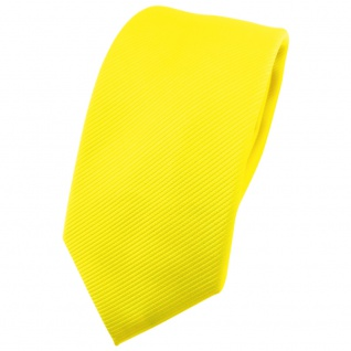 Schmale TigerTie Designer Krawatte in gelb leuchtgelb neongelb Uni Rips - Binder