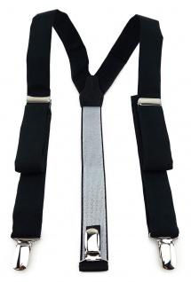 schmaler TigerTie Unisex Hosenträger mit 3 extra starken Clips - in schwarz uni