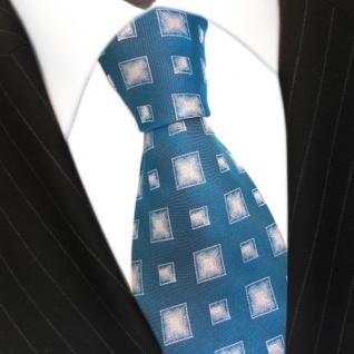 Seidenkrawatte türkis blaugrün silber Karo Muster - Krawatte 100 % Seide Silk