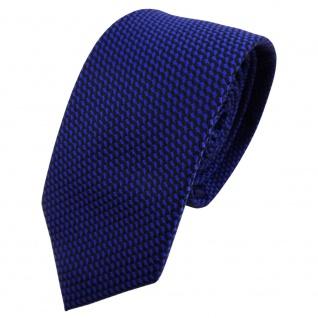 Schmale TigerTie Krawatte blau ultramarin schwarz gemustert - Krawatte Binder