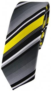 schmale TigerTie Designer Krawatte in gelb silber grau weiss gestreift - Schlips