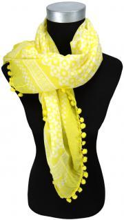 Halstuch in gelb zitronengelb weiss gemustert mit Bommeln - Größe 100 x 100 cm