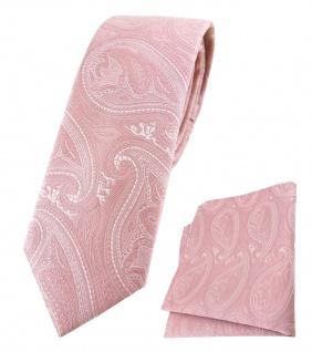 schmale TigerTie Krawatte + Einstecktuch rosa altrosa silber Paisley gemustert