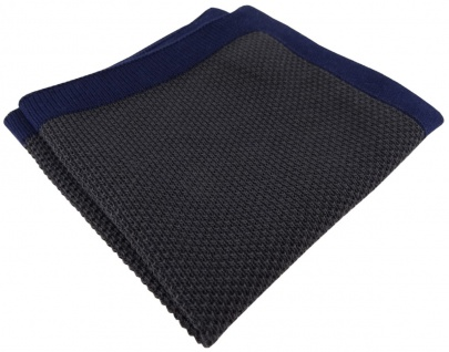 TigerTie Designer Strick Einstecktuch in anthrazit marine Uni - 100% Baumwolle