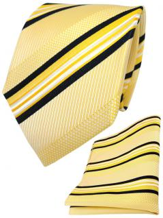 TigerTie Seidenkrawatte + Seideneinstecktuch in gelb weiß schwarz gestreift