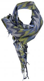 Halstuch blau schwarz silber m. Fransen - Glitzerfäden eingearbeitet- 90 x 90 cm