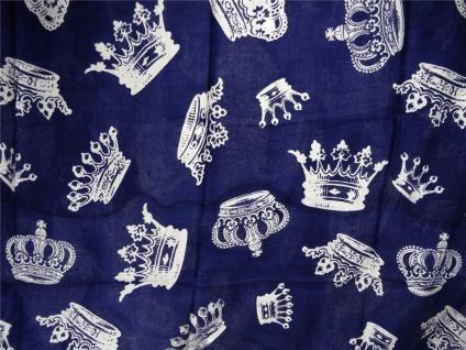 Loop Schal Halstuch in marine dunkelblau grau mit Kronen Motiven - 180 x 100 cm - Vorschau 2