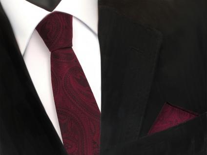 schmale TigerTie Krawatte + Einstecktuch rot weinrot schwarz paisley Muster