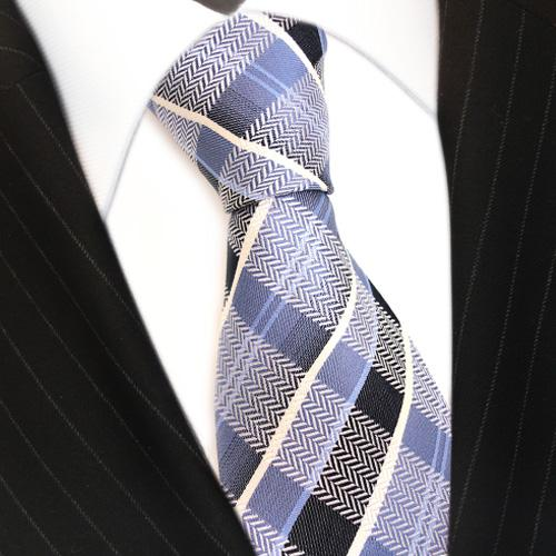 TigerTie Seidenkrawatte blau graublau weiss anthrazit kariert - Krawatte Seide