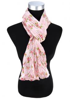 Damen Halstuch in rosa Blumenmuster Gr. 180 cm x 50 cm - Tuch Schal Baumwolle