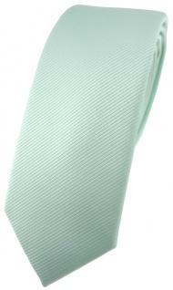 schmale TigerTie Designer Krawatte in mint grün einfarbig uni Rips