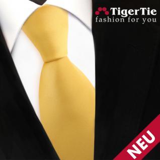 TigerTie Satin Krawatte gelb goldgelb Uni - Schlips Binder Tie
