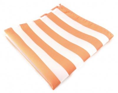 TigerTie Einstecktuch in apricot weiss gestreift - Stecktuchgröße 30 x 30 cm
