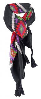 Halstuch rot lila grün braun schwarz grau mit Tusseln an den Ecken - 100x100 cm