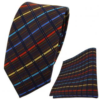 schmale TigerTie Krawatte + Einstecktuch blau gold türkis rot schwarz gestreift