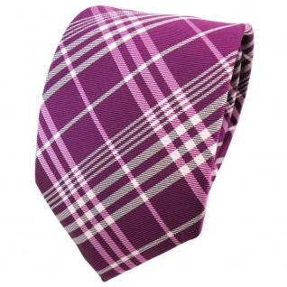 TigerTie Seidenkrawatte lila magenta fuchsia silber grau kariert - Krawatte Tie
