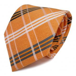Designer Krawatte orange weiss anthrazit grau kariert - Schlips Binder Tie