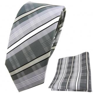 schmale TigerTie Krawatte + Einstecktuch silber anthrazit weiß schwarz gestreift
