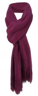 schöner Schal in pflaume Uni mit Fransen - Winterschal Größe 30 x 180 cm