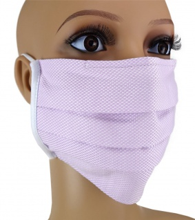 TigerTie - Gesichtsmaske mit Nasenbügel Pique flieder gemustert mit Gummiband