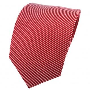Satin Seidenkrawatte rot verkehrsrot silber gestreift - Krawatte Seide Binder - Vorschau 1