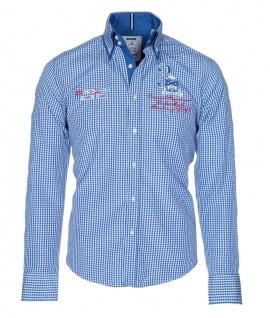 Pontto Designer Hemd Shirt in blau weiß kariert langarm Modern-Fit Gr.S