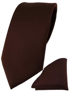 TigerTie Designer Krawatte + TigerTie Einstecktuch in dunkelbraun einfarbig uni