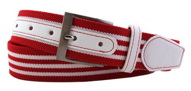 TigerTie - Stretchgürtel in rot weiß gestreift - Bundweite 100 cm