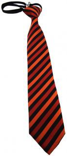 TigerTie Kinderkrawatte orange schwarz gestreift - vorgebunden mit Gummizug