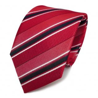 Designer Seidenkrawatte rot verkehrsrot weiß blaugrau gestreift - Krawatte Seide