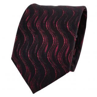 TigerTie Lurex Seidenkrawatte rot bordeaux schwarz Wellenmuster - Krawatte Seide