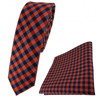 schmale TigerTie Krawatte + Einstecktuch in orange marine dunkelblau kariert