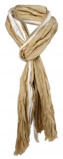 gecrashter Schal braun hellbraun creme gestreift mit Fransen - Gr. 180 x 50 cm