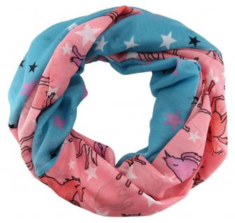 Loop Schal Halstuch in rosa lila weissgrau schwarz petrol - Motiv Einhorn-Sterne