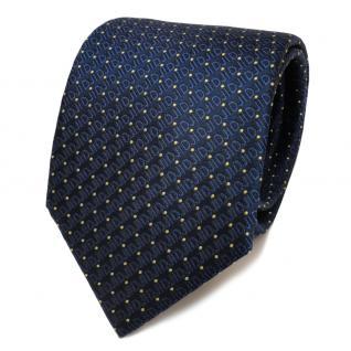 Designer Seidenkrawatte blau royal gold gepunktet - Krawatte Seide Silk Tie