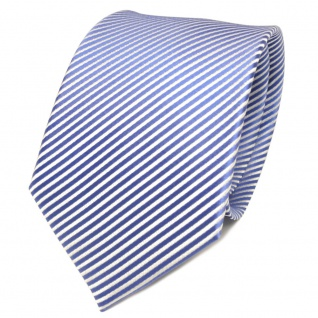 TigerTie Designer Seidenkrawatte blau fernblau weiß gestreift - Krawatte Seide