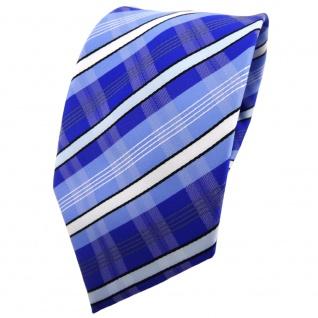 TigerTie Krawatte blau hellblau marine weiß schwarz grau gestreift - Binder