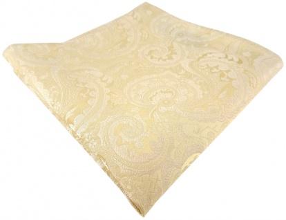 TigerTie Designer Seideneinstecktuch in beige creme perlmutt weiß gemustert